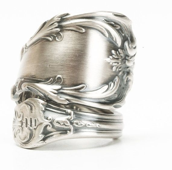 Victorian Spoon Ring Chunky Silver Ring Sterling by Spoonier