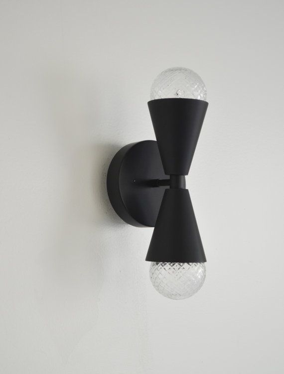 Madonna- No. 8 - Solid Brass BLACK Cone light.  Modern mid century wall light lamp with black brass cone shades - glass globe bulb