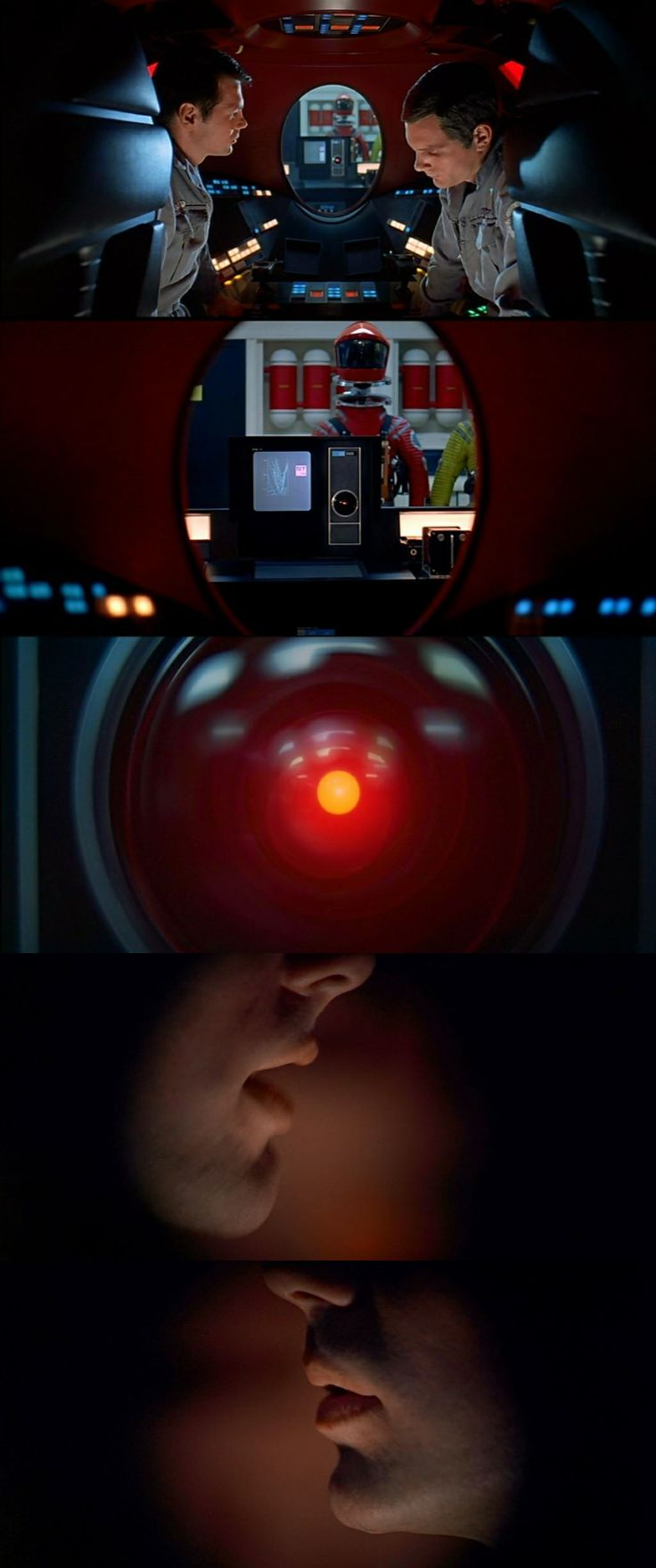 Dr. Poole and Dr. Bowman plan to disconnect HAL 9000 without it knowing it. Thus they hide in a Pod to prevent HAL from finding out. Nevertheless, they are unaware that HAL can actually read their lips. A quite scary situation ensues. 2001: A Space Odyssey 1968