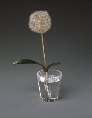 Workshop of Peter Carl Faberge (1846-1920). <em>Potted Dandelion Plant, Crystal Pot</em>, 1870-1920. Jade, metal (gold, platinum, copper alloy), diamonds, possibly asbestos, and crystal or glass, height: 7 1/4 in. (18.4 cm). Brooklyn Museum, Bequest of Helen Babbott Sanders, 78.129.17a-b. Creative Commons-BY (Photo: Brooklyn Museum, 78.129.17_SL1.jpg)