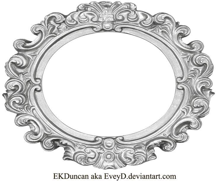 Oval Frame Png Ornate silver frame - wide