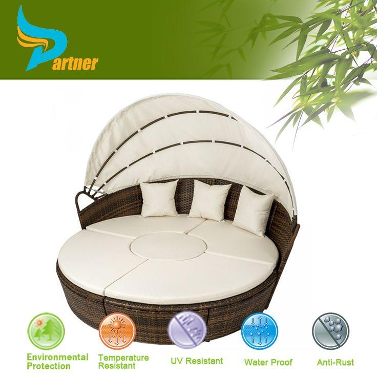 Patio de mimbre redonda cama solar outdoor muebles de ratán cama redonda