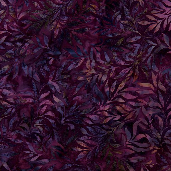 Bavlněná látka Batika Bali lístky fialové BB