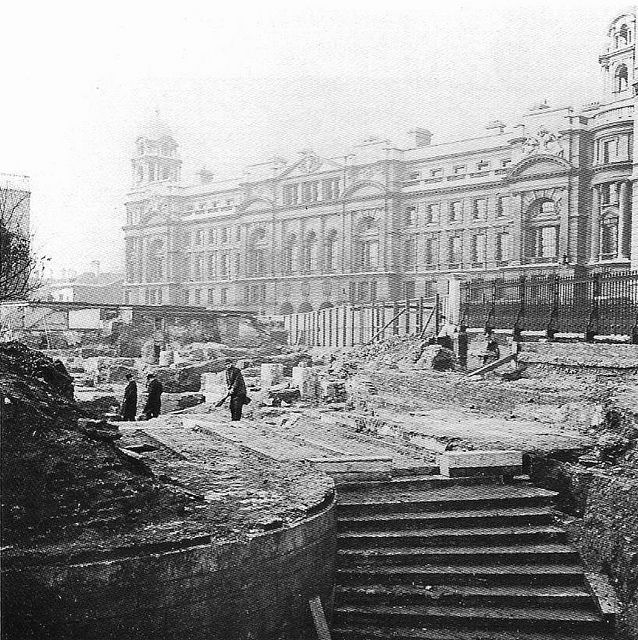 Queen Mary's Steps by Leonard Bentley, via Flickr, 1939 excavations for the new Ministry of Defence revealed Queen Mary's Steps which were part of King Henry VIII's Whitehall Palace, the steps led down to the  terrace overlooking the River Thames
