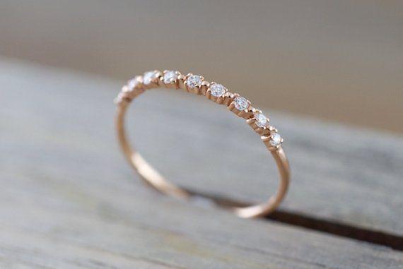 Diamant-Band: 14 k Rose Gold Diamant Ring Band Hochzeit Verlobung Stapel zierlich