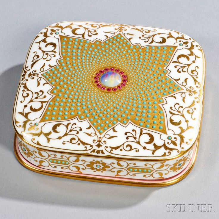 Jeweled Coalport Porcelain Box and Cover, England, late 19th century, square shape with rounded corners, gilded foliage bordering a floral-shaped gold medallion set with applied turquoise enamel jeweling centered with a simulated enamel stone, printed crown mark, lg. 5 in.