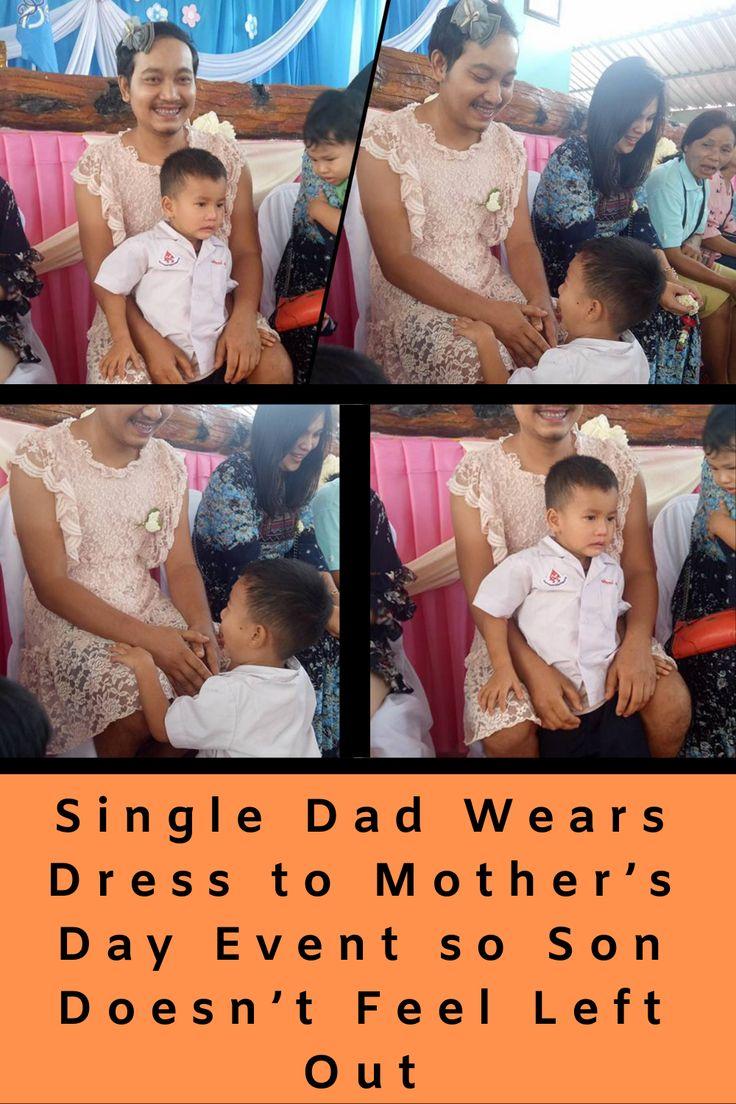 Alleinerziehender Vater trägt ein Kleid zum Muttertagsereignis, damit der Sohn sich nicht ausgelassen fühlt