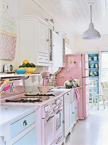50s Retro Kitchens-- I like this kitchen, but it's too pastel... Many days would be spent keeping it all look so bright & cheery... Would never make spaghetti sauce in there