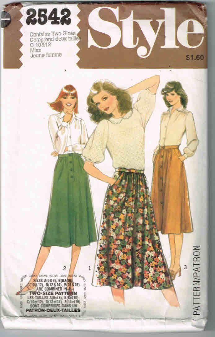 1978 Style #2542 Vintage Sewing Pattern, Two Size Pattern, Miss Size 10, 12 Set of Skirts by TheShoppingMoll on Etsy