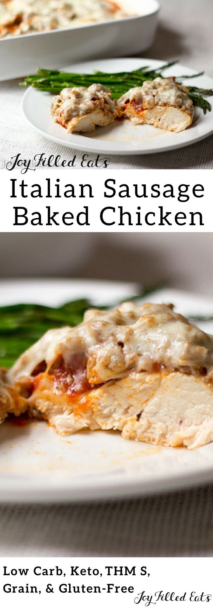 Italian Sausage Baked Chicken - Low Carb, Keto, Gluten-Free, Grain-Free, THM S - This Italian Sausage Baked Chicken only takes 35 minutes & 5 ingredients! For a weeknight dinner, it is impressive.