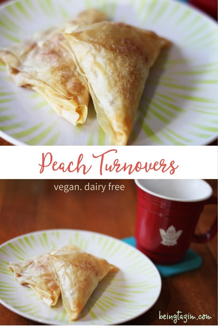 Vegan dairy free peach turnovers. Easy to make with phyllo dough. Easy to freeze and enjoy year-round!