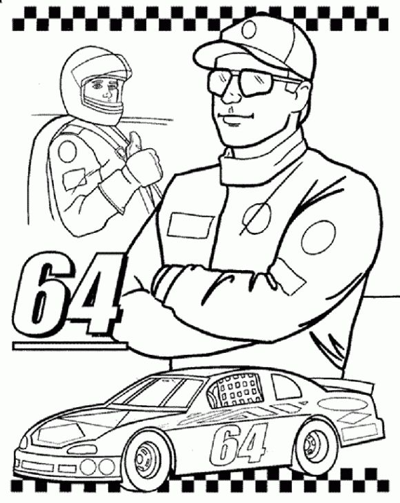 A NASCAR Team And Their Car Coloring Page