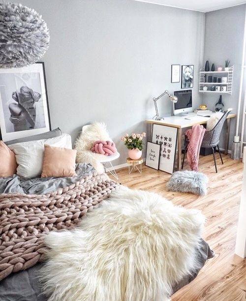 Pink and grey pastel room