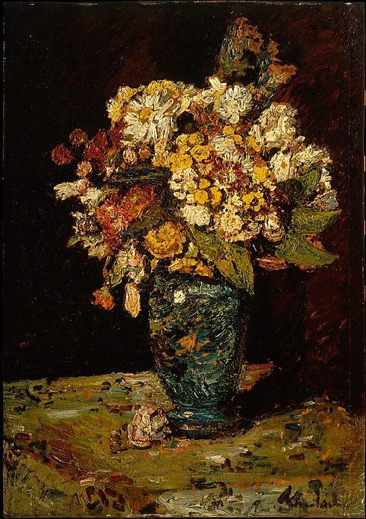 Flowers in a Blue Vase  Adolphe-Joseph-Thomas Monticelli  (French, Marseilles 1824–1886 Marseilles)