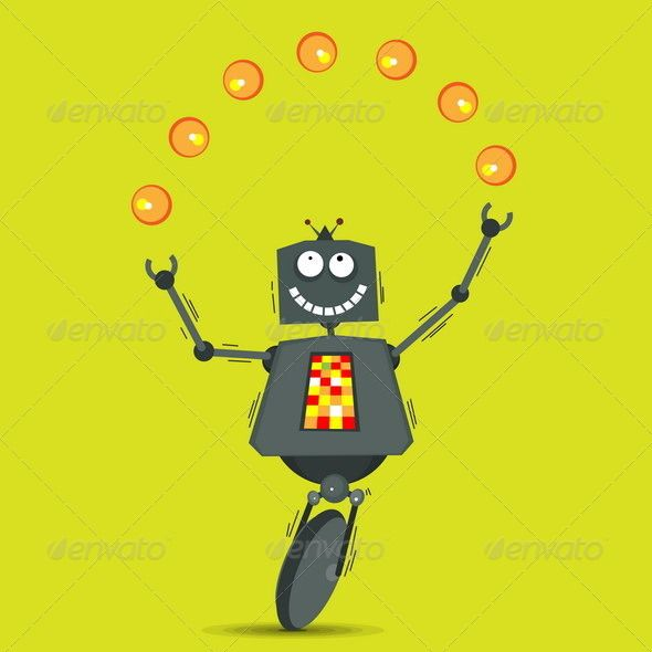 Juggling Robot  #GraphicRiver         Vector illustration of cartoon robot juggling balls. High resolution JPG is included in the zip file.     Create…