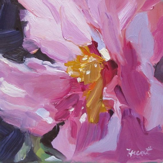 A NEW abstract realist painting titled 'Pink Peony' by LindaHunt, $125.00