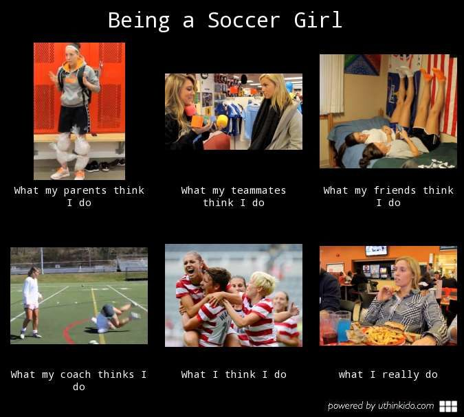 Being a soccer girl, What people think I do, What I really do meme image - uthinkido.com
