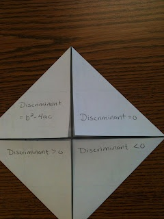 Simplifying Radicals: #Made4Math August 27 Discriminant Foldable