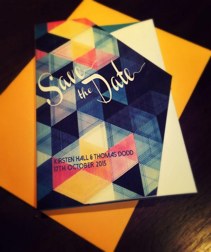 Geometric pattern Save the Date card. Go to www.lovemytype.com.au