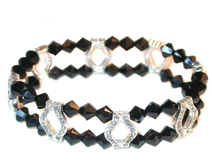 Beautiful Black Gold and White Crystal Stretch Bracelet with Swarovski Element Crystals 7erSBW