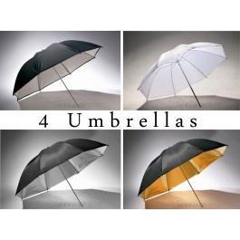 [50449] Studio Bundle  - 4 Umbrellas (White, silver, gold reflective and shoot-through umbrella)