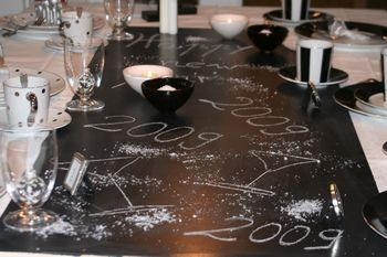 Inspiration: Für diesen Tisch benötigen Sie: Tafel (Sperrholz mit 5 Schichten Tafellack), Tortenspitze, weiße Tischdecke, Kunstschnee