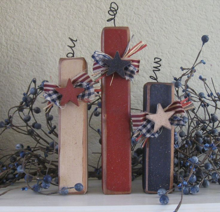 Summer decor primitive americana firecracker trio display for Americana decoration