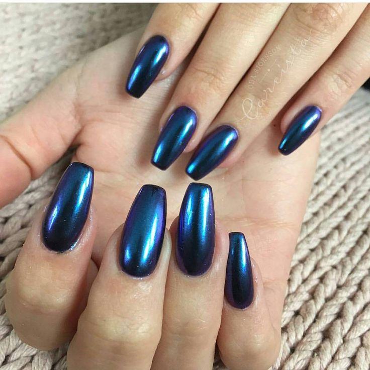 "#mulpix ""Purple/Blue"" Chrome Chameleon over Black Gel Polish.  LOVELY nails made by @careista . . #lillynails #nails #nailart #naglar #gelnails #gelenaglar #gelpolish #gelelack #acrylicnails #akrylnaglar #instanails #nailstagram #nailtech #nailswag #nagelutbildning #nagelkurs #nagelskola #nagelsalong #nagelterapeut #nailtech #nailwow #nailinspo #nailinspiration #chrome #chromenails #mirror #chameleon #mirroreffect #lillychrome"