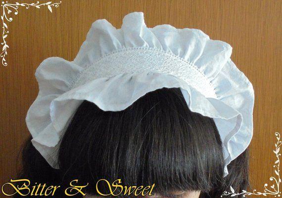 Artisan Made White and Black Tie-On Cosplay Classic Maid Headband
