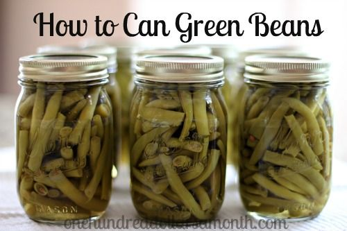 "Canning 101 – How to Can Green BeansFill clean, dry, sterilized jars 1 inch from the top with cut green beans & boiling water; remove air bubbles.  Put jars in 3"" boiling water on bottom of canner rack. When pressure canner reaches 10 lb., set timer for 20 min.  Turn it off, let it drop to zero.  Remove."