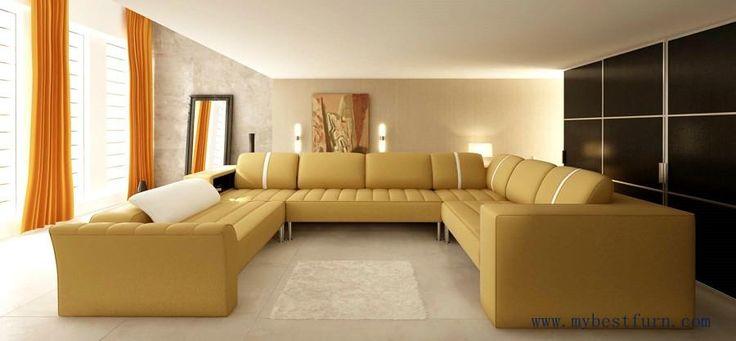 Elegant Beige Leather Sofa Hot Sale Large Sofa Set, Real Cow Leather Furniture modern design furniture Set