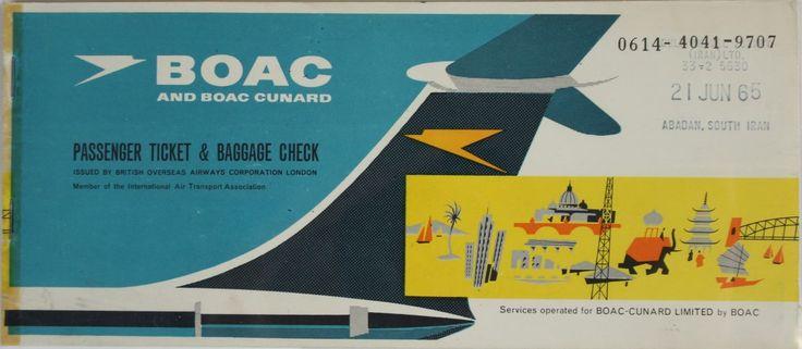 BOAC Cunard Passenger Ticket & Baggage Check