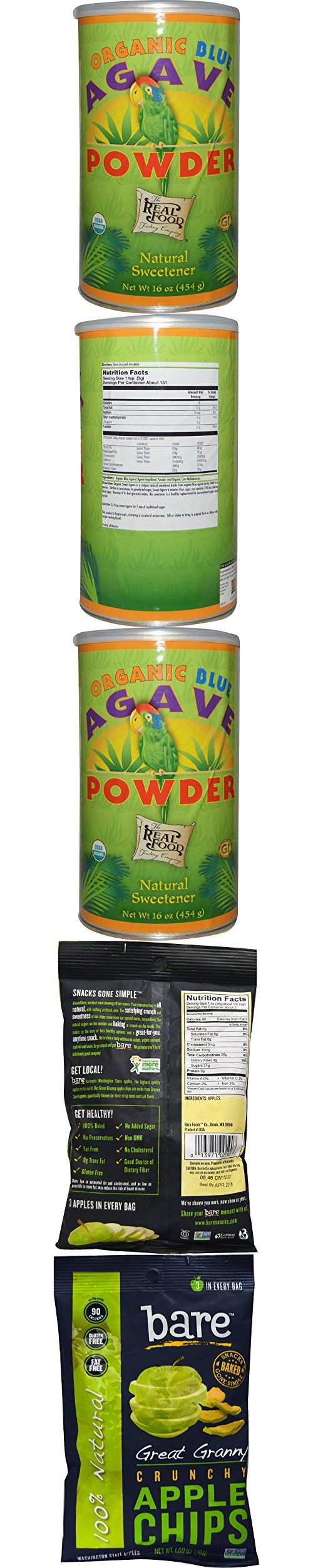 Best Fun Fresh Foods, The Real Food, Organic Blue Agave Powder, 16 oz (454 g), Bare Fruit, Great Granny Crunchy Apple Chips, 1.69 oz (48 g)