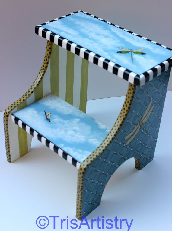 Child's Whimsical Dragonfly Stepstool by TrisArtistry on Etsy