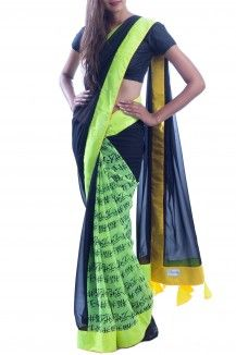 Black & Green neon Saree