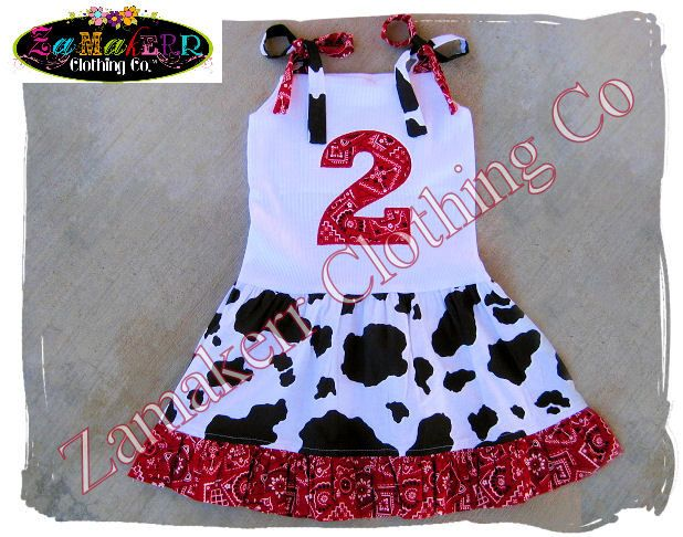 toddler girls cow outfit   Cow Bandana Girl Dress - Custom Boutique Clothing - Girl Birthday Farm ...
