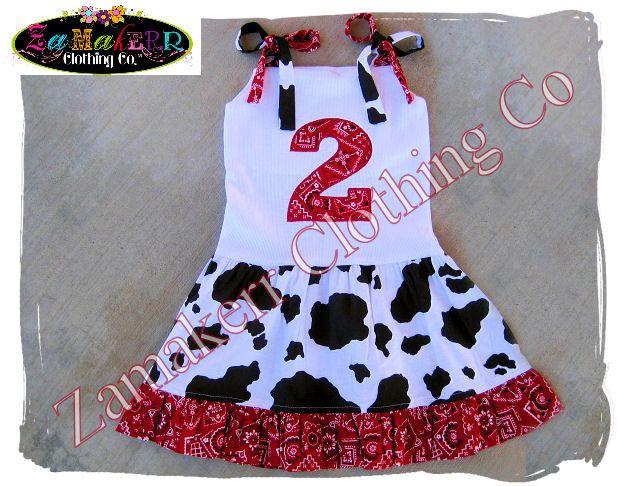 Cow Bandana Girl Dress Custom Boutique Clothing Girl