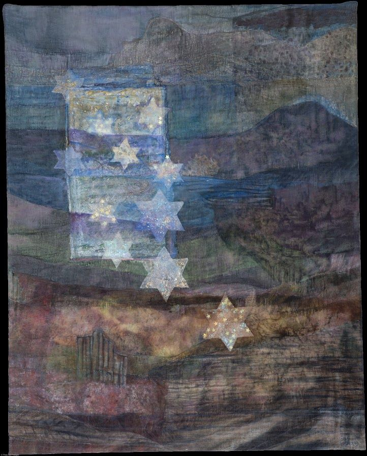 Saskia Weishut-Snapper. Visioen.   Deze peintisserie is een visioen van het Heilig Land, dat G.d de Joden beloofd had. De Davidssterren symboliseren de huidige Staat.