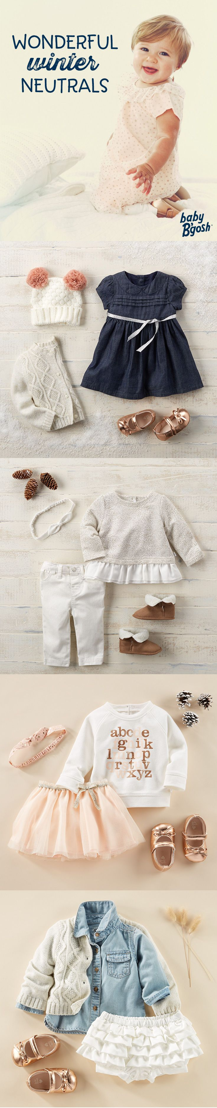 WONDERFUL WINTER NEUTRALS: A little pink and a lot of love goes into these looks from Baby B'gosh. Add a festive touch with tiny metallic ballet flats!