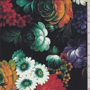 Black Floral Stretch Poplin - 33569 - Fabric By The Yard At Discount Prices