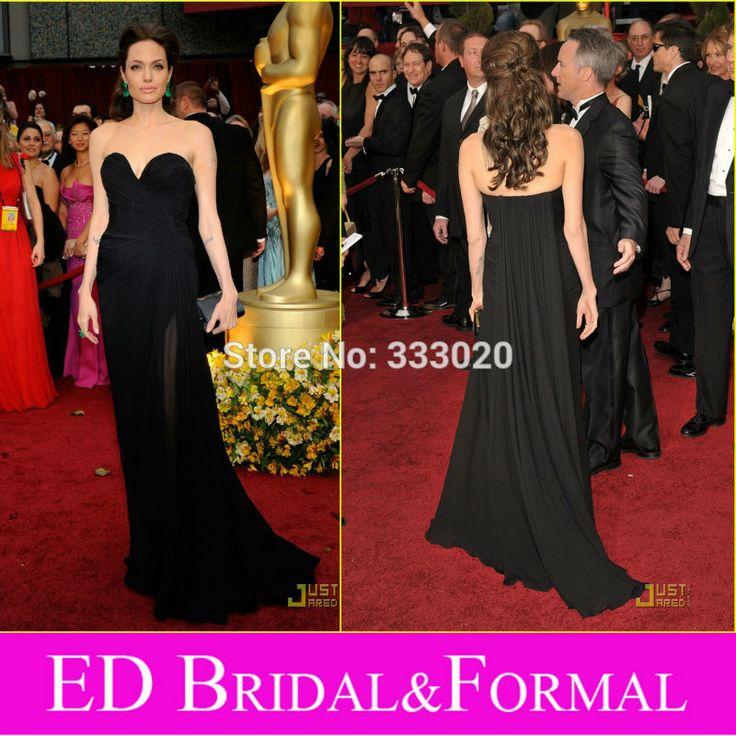 Angelina Jolie Schwarz Abendkleid zu 2009 81st Oscar Awards Roter Teppich Schatz Chiffon Höhe Aufgeschlitzte Abendkleid Berühmtheit Kleid //Price: $US $123.00 & FREE Shipping //     #dazzup