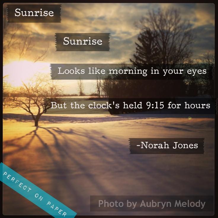 Nora jones sunrise lyrics