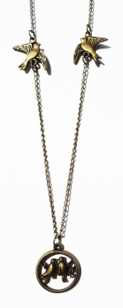 Vintage love birds necklace