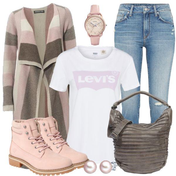 Endlich gibt es das Levis Shirt mit dem Markenprint auch mit Rosa! Da schlägt mein Mädchenherz glatt höher! Wir haben es mit eienr braun-rosa Strickjacke und einer Mavi Jeans kombiniert. Zusammen mit coolen Schnürstiefeletten von Tamaris sowie einer braunen Handtasche ist der Look farblich perfekt abgestimmt. Abgerundet wird das Outfit mit einer Fossil Uhr mit rosa Ziffernblatt und Band und rosa Perlen-Ohrsteckern.