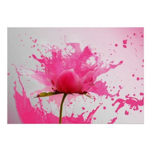 Pretty flower with pink petals exploding into pink paint splatters poster. #abstract #spring #flowers