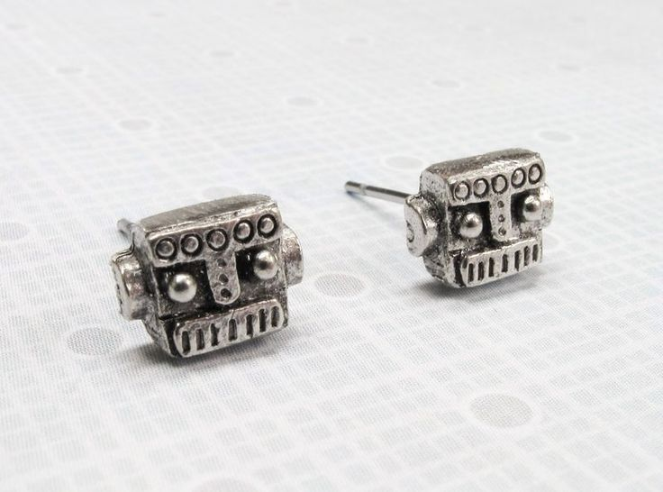 Tiny Robot Studs, robot head face mini retro silver small geeky nerdy - product images  of