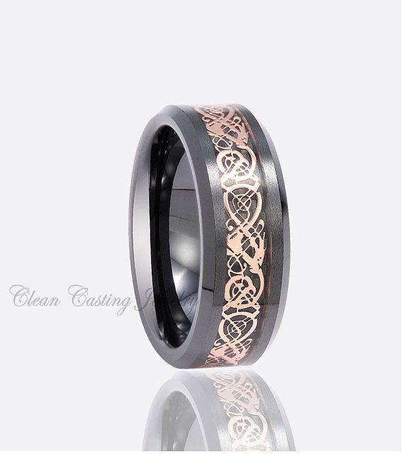 Spectacular Personalized Engraved Black Ceramic Wedding Band Ring Rose Gold Celtic Dragon Design Inlay mm