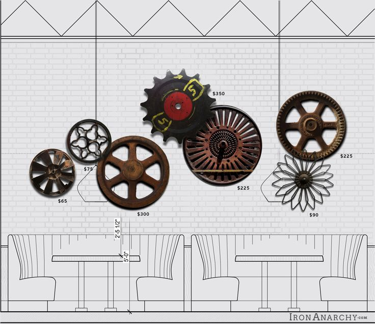 industrial wheel and gear wall composition concept for joey restaurant by iron anarchy