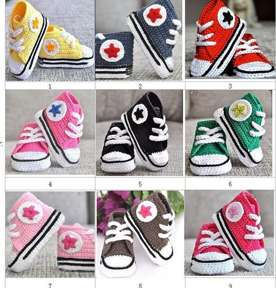Handmade Crochet Baby Converse by DarlingPies on Etsy