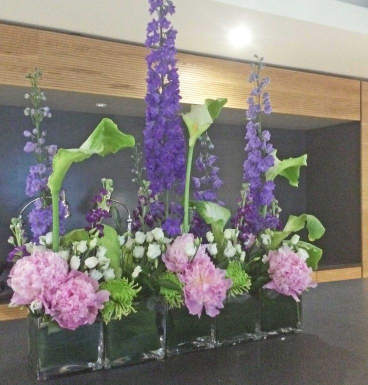 61bv purple delphinium green arum lillies white for Pink and blue flower arrangements